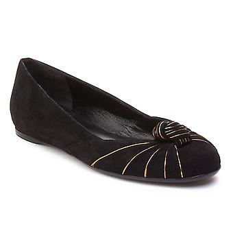 Gucci Women's Suede Ballerina Flat Shoes Black