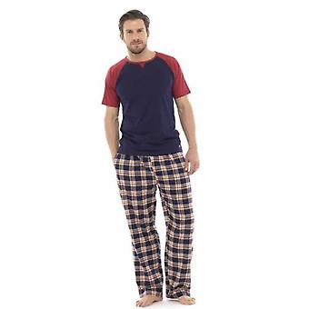 Mens Cotton Check Bottoms Short Sleeve Lounge Wear Various Sizes & Colours