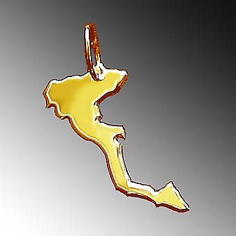 Trailer map Corfu pendant in solid 585 gold