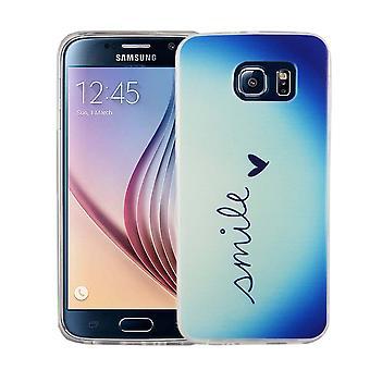 Handy Hülle für Samsung Galaxy S6 Cover Case Schutz Tasche Motiv Slim Silikon TPU Schriftzug Smile Blau