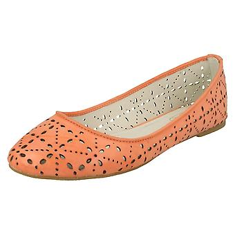 Ladies Casual Ballerina Shoes With Cut Out Detail