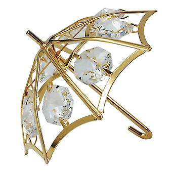 Umbrella with crystal elements gold plated