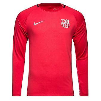 2018-2019 Barcelona Nike Long Sleeve Trainingsshirt (Tropical Pink)