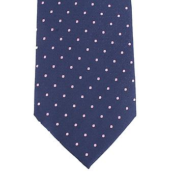 Knightsbridge Neckwear Spotted Silk Tie - Navy/Pink
