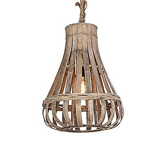 QAZQA Country Pendant Lamp 44cm Wood with Rope - Excalibur