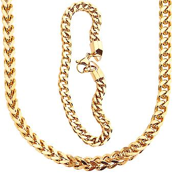 Iced out stainless steel Franco 5x5mm set - Necklace & Bracelet gold