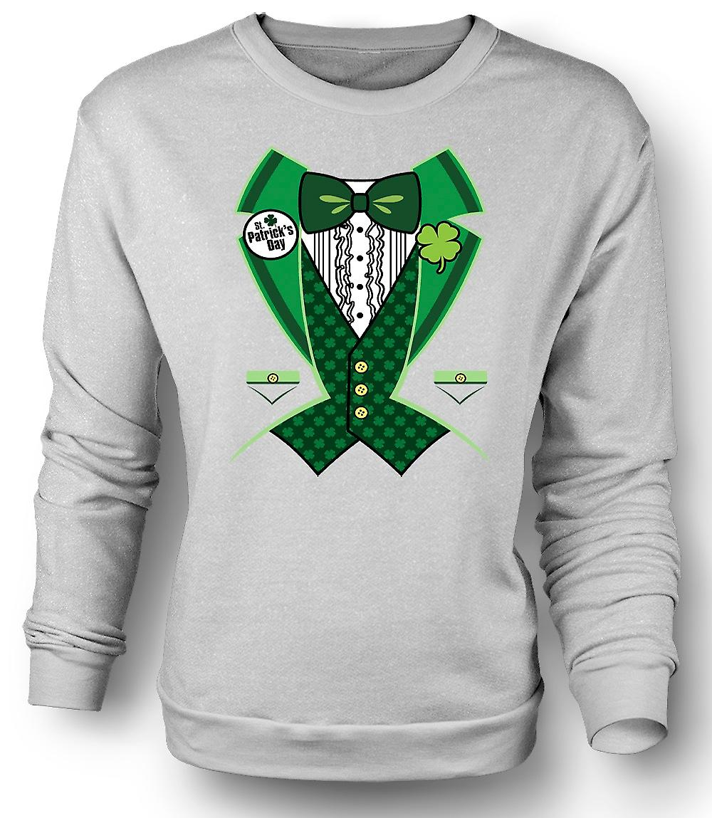 Mens Sweatshirt St Patricks Day - Green Tuxedo