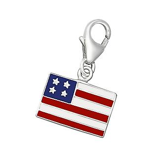 USA Flag - 925 Sterling Silver Charms with Lobster - W10200X