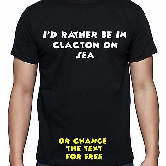 Tenía algo ser en Clacton en mar negro mano impreso camiseta