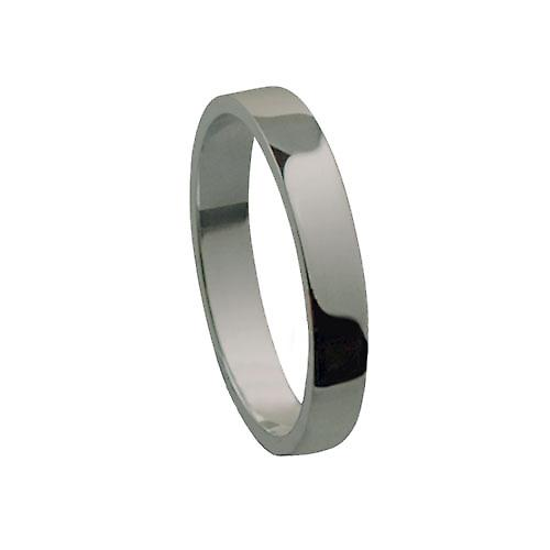 9ct White Gold 3mm plain flat Wedding Ring Size P