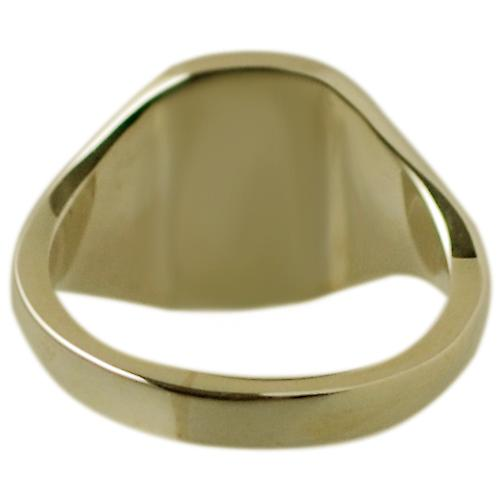 18ct Gold 12x10mm solid plain cushion Signet Ring Size S