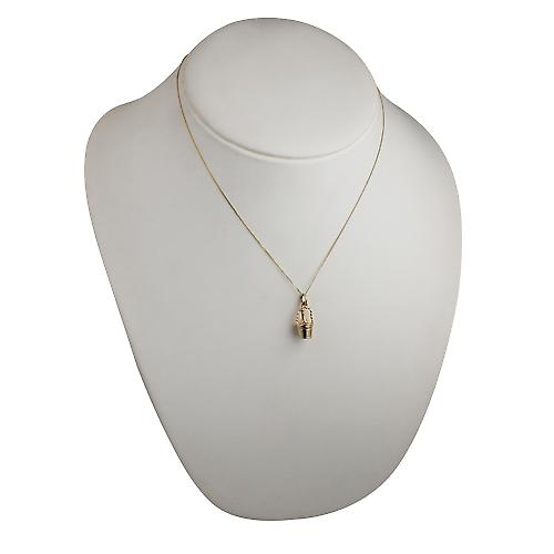 9ct Gold 28x10mm champagne bucket Pendant with a curb chain