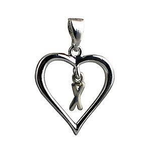 Silver heart Pendant with a hanging Initial X