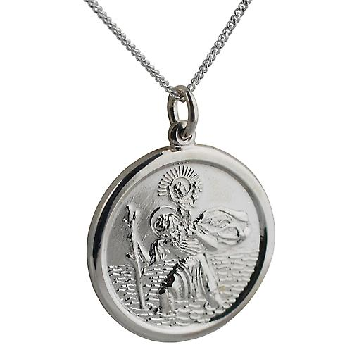 Silver 26mm round solid St Christopher Pendant with a curb Chain 22 inches