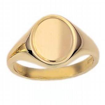 9ct Gold 14x12mm solid engine turned line border oval Signet Ring Size N