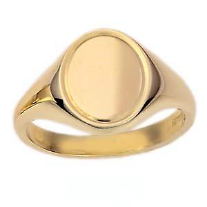 9ct Gold 14x12mm solid engine turned line border oval Signet Ring Size V