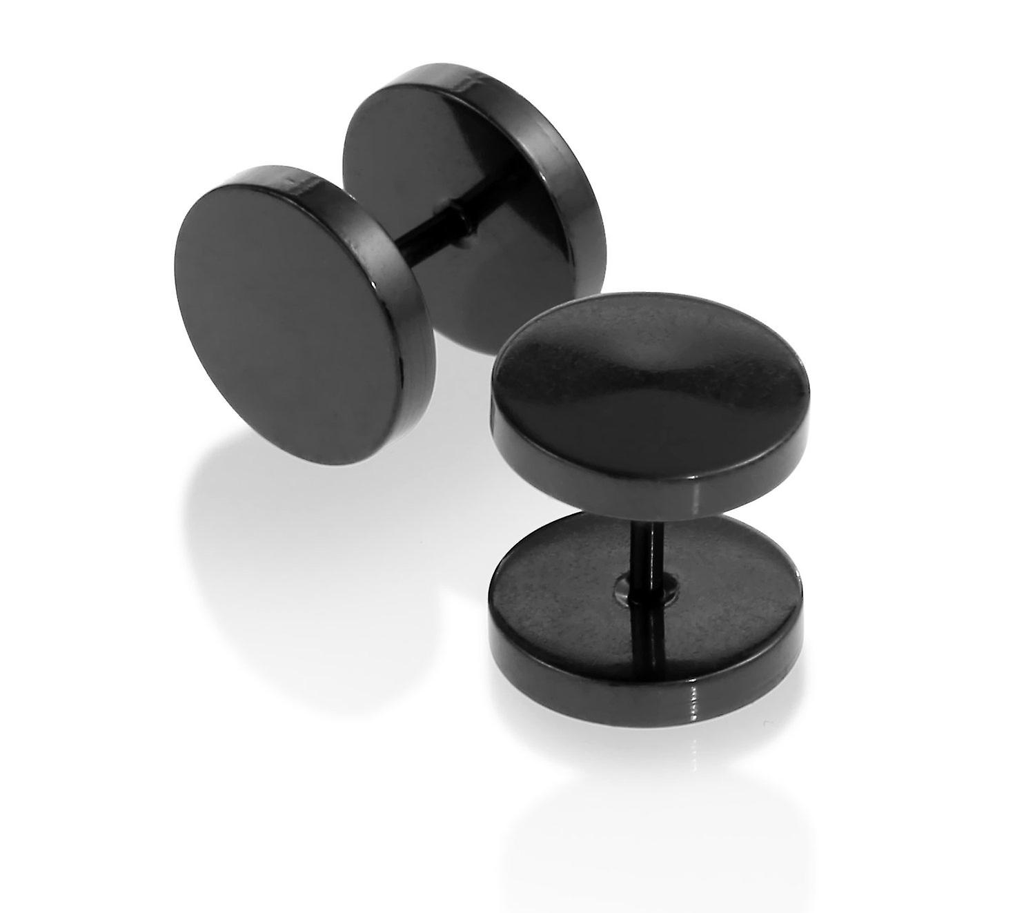 Black Stainless Steel Illusion Tunnel Plugs Earrings Men Unisex 5mm