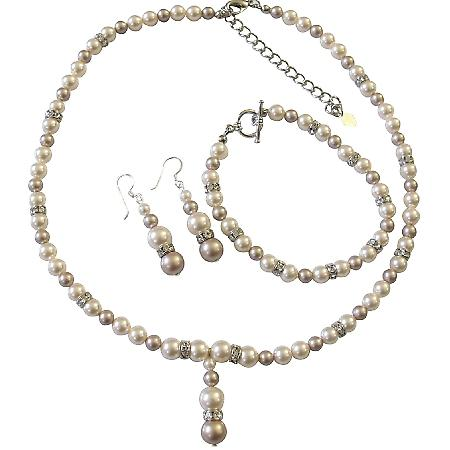 Champagne Ivory Pearls Simulated Diamond Spacer Drop Down Necklace Set