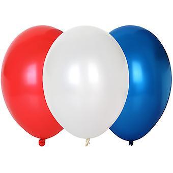 TRIXES 30 x 30cm diamètre de ballons en Latex rouge / blanc / bleu - décoration de fête fête nationale-