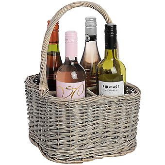 Hill Interiors Wicker 4 Bottle Wine Basket