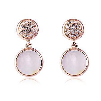 Pierres de orphelia argent 925 boucles d'oreilles Rose avec la mère de perle et de Zirconium - ZO-7431