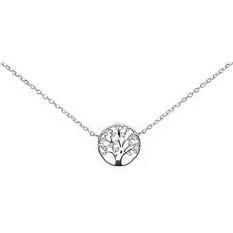 Bella Cubic Zirconia Tree Necklace - Silver
