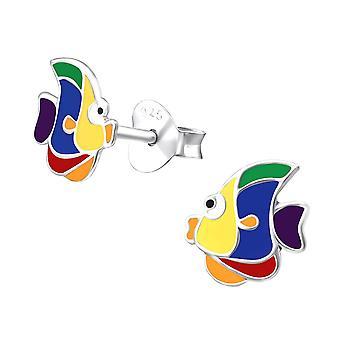 Børns sterling sølv farverig fisk stud øreringe