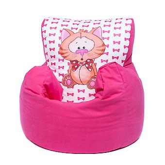 Loft 25® Toddler Animal Print Soft Plush Bean Bag Chair-Cat, Pink