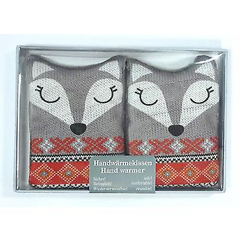 Fair Isle Animal Click & Heat Gel Hand Warmers (Pair): Fox
