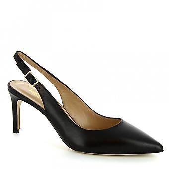 Sandales à talon à la main de Leonardo Chaussures femmes en cuir de veau noir