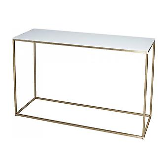Gillmore Space White Glass And Gold Metal Contemporary Console Table