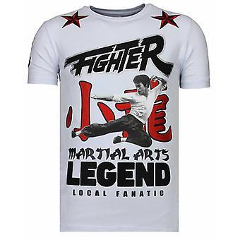 Fighter Legend-rhinestone T-shirt-vit