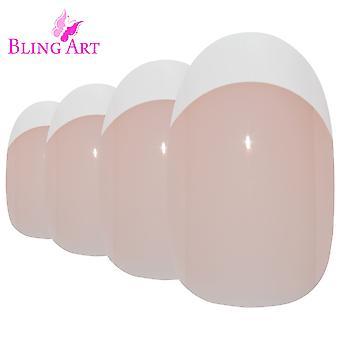 False nails by bling art white french polished oval medium fake 24 nail tips
