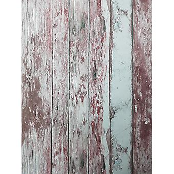 Red White Distressed Wood Wallpaper Wooden Grain Textured Paste Wall Vinyl