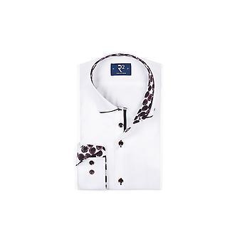 R2 Long Sleeved Shirt White/burgundy Circle
