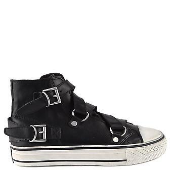 Ash Footwear Vanessa Bis Black Leather Buckle Trainer