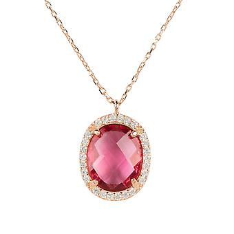 Necklace Rose Gold Pink Tourmaline Pendant Gemstone Chain Wedding 925 Sparkle