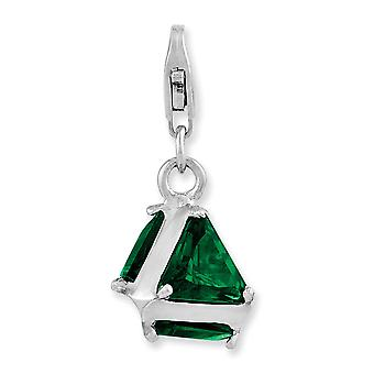 925 Sterling Silver Rhodium-plated Fancy Lobster Closure Rhodium Plated 3-d Green Glass With Lobster Clasp Charm