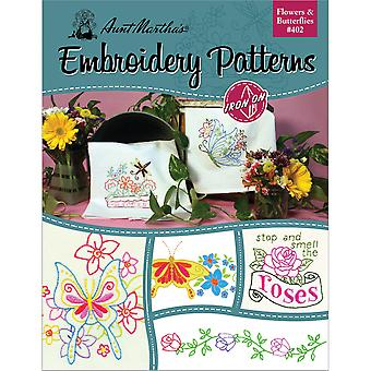 Aunt Martha's Iron On Transfer Books Flowers & Butterflies Tpb 402