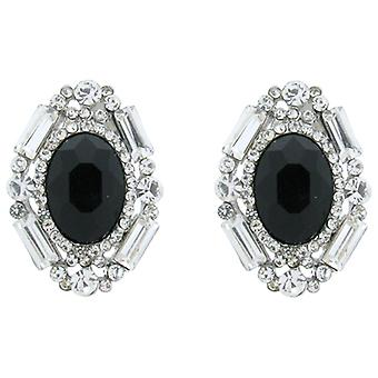 Clip On Earrings Store Victorian Black Stone and Clear Crystal Treasure Clip On
