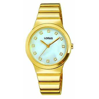 Lorus Womans Retro Style Gold Plated Strap Mother Of Pearl Dial RG280KX9 Watch