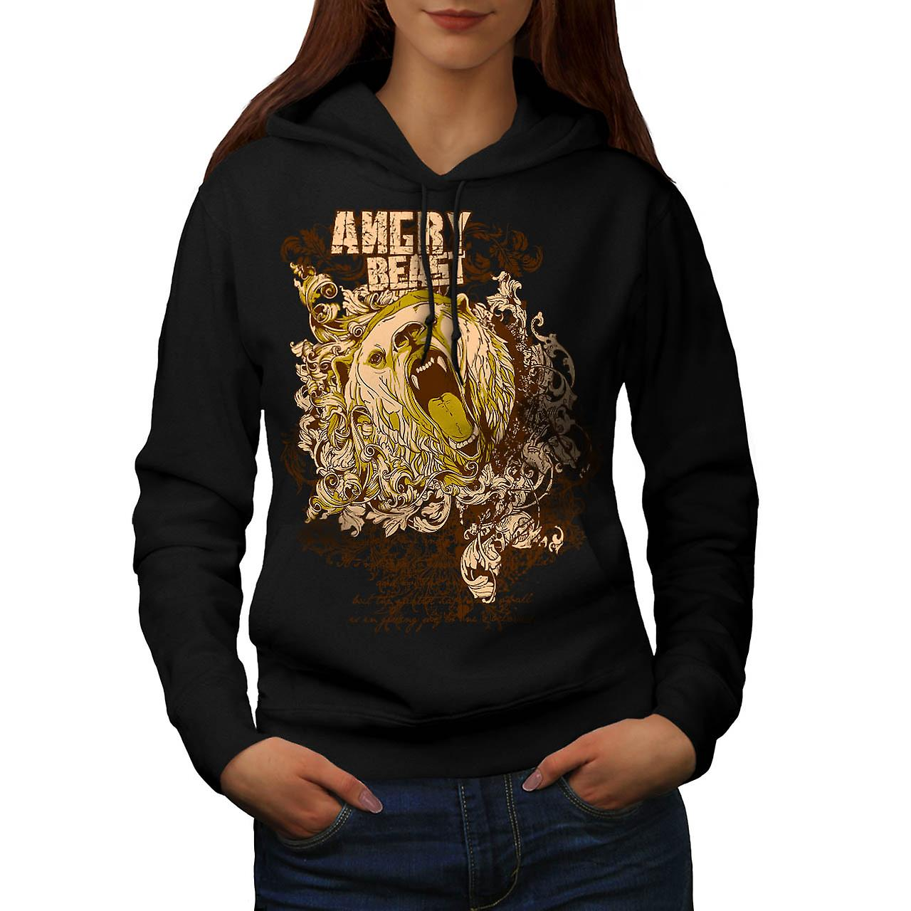 Angry Beast Bear Animal Women Black Hoodie | Wellcoda