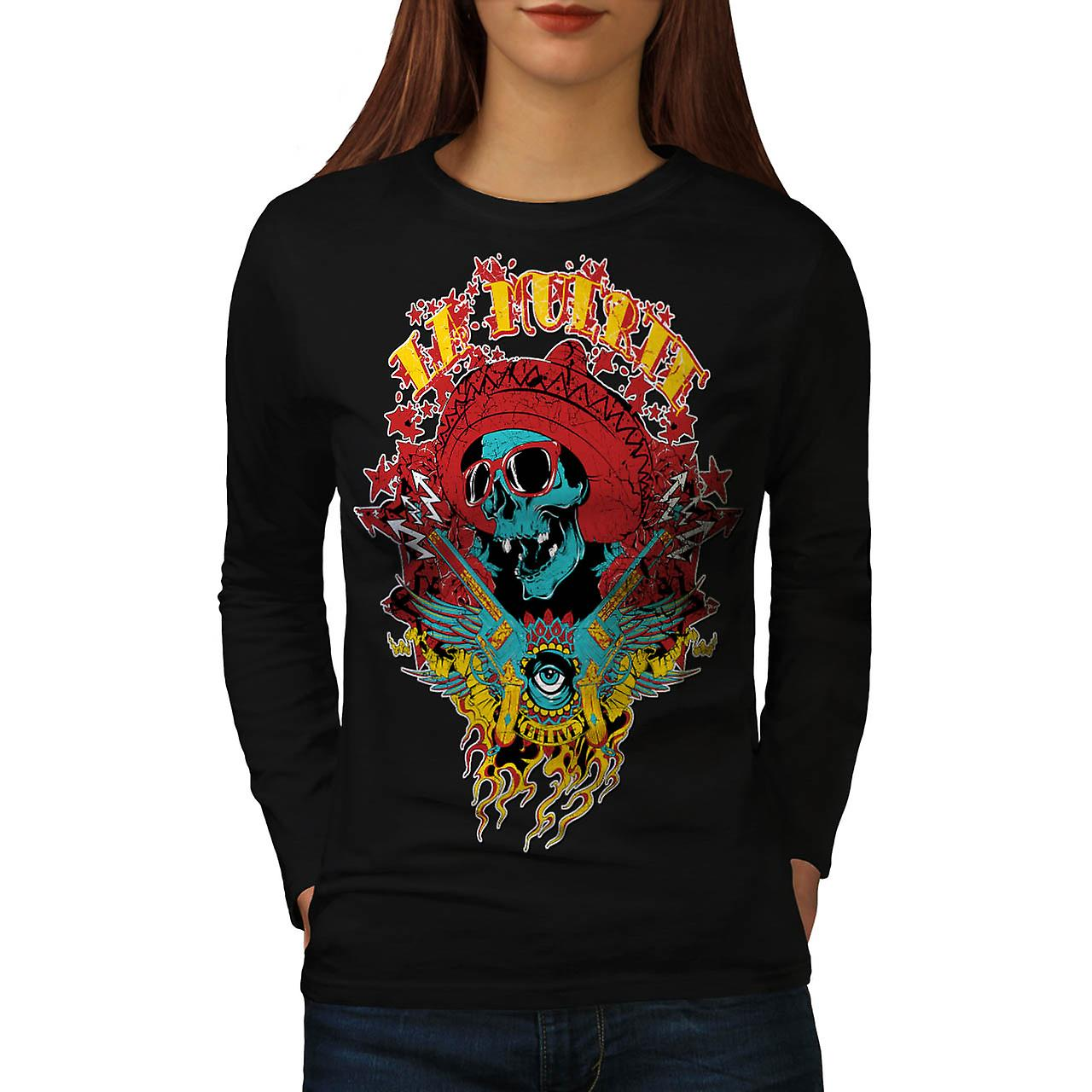 Mexico Skull Gun Life Shade Head Women Black Long Sleeve T-shirt | Wellcoda