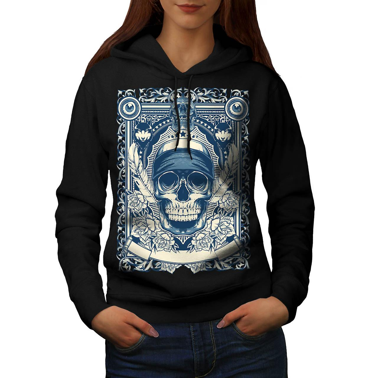 Skull Gangster Head Burial Card Women Black Hoodie | Wellcoda