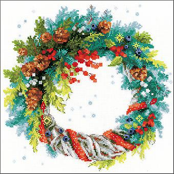 Wreath W/Blue Spruce Counted Cross Stitch Kit-11.75