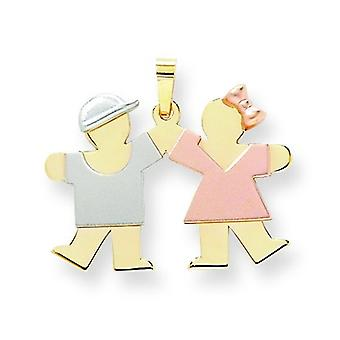 14k Tri-Color Gold Sml. Boy on Left Girl on Right Charm