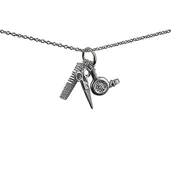 Three Silver 15x4mm Hairdressers Pendants with a rolo Chain 24 inches
