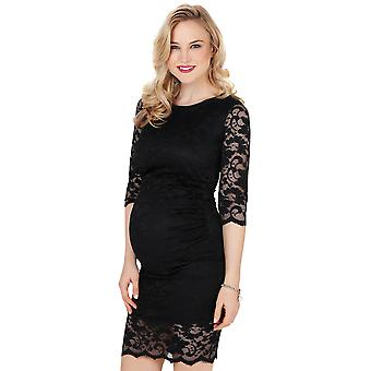 KRISP Maternity Retro Lace Stretch Bodycon Pregnancy Midi Dress Party Wedding Gown
