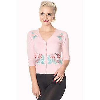 Banned - FACE TO FACE FLAMINGOS - Embroidered Cardigan, PINK