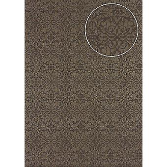 Baroque wallpaper Atlas PRI-498-1 non-woven wallpaper smooth with ornaments shiny bronze perl-beige Brown gray beige-gray 5.33 m2
